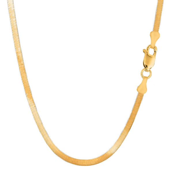 14k Yellow Solid Gold Imperial Herringbone Chain Necklace, 3.0mm