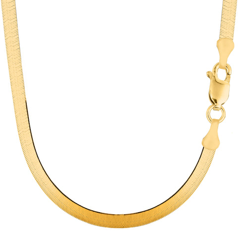 14k Yellow Gold Imperial Herringbone Chain Necklace, 5.0mm - JewelryAffairs  - 1