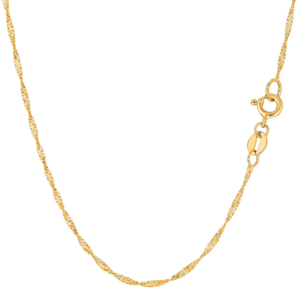 14k Yellow Gold Singapore Chain Bracelet, 1.5mm, 10""