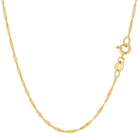 14k Yellow Gold Singapore Chain Necklace, 1.5mm