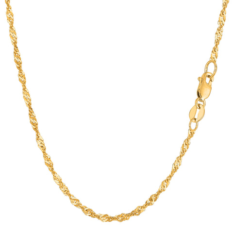 14k Yellow Gold Singapore Chain Bracelet, 2.1mm, 10""