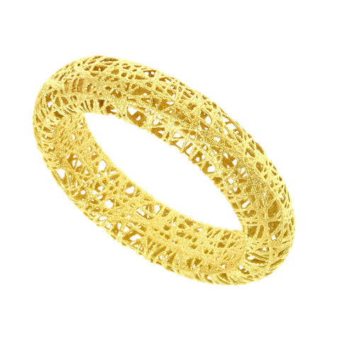 14k Yellow Gold Mesh Textured Band Ring, Size 7