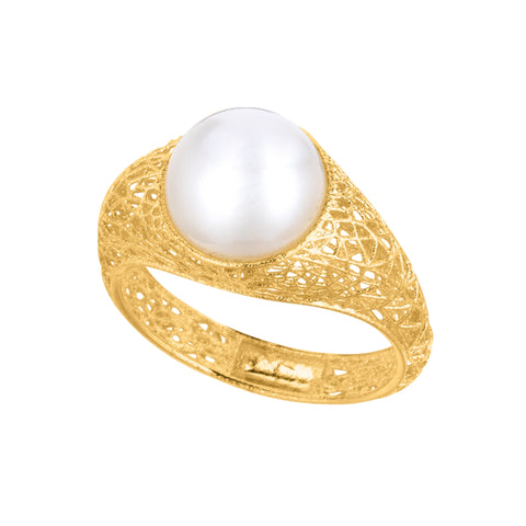 Spider Web Inspired Pearl Ring In 14k Yellow Gold, Size 7
