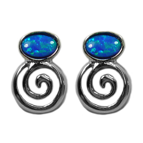 Sterling Silver Greek Spiral Key With Synthetic Opal Earrings, 10 x 14mm