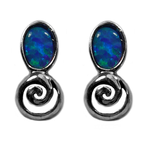 Sterling Silver Rhodium Plated Greek Spiral Key With Synthetic Opal Earrings, 5 x 12mm