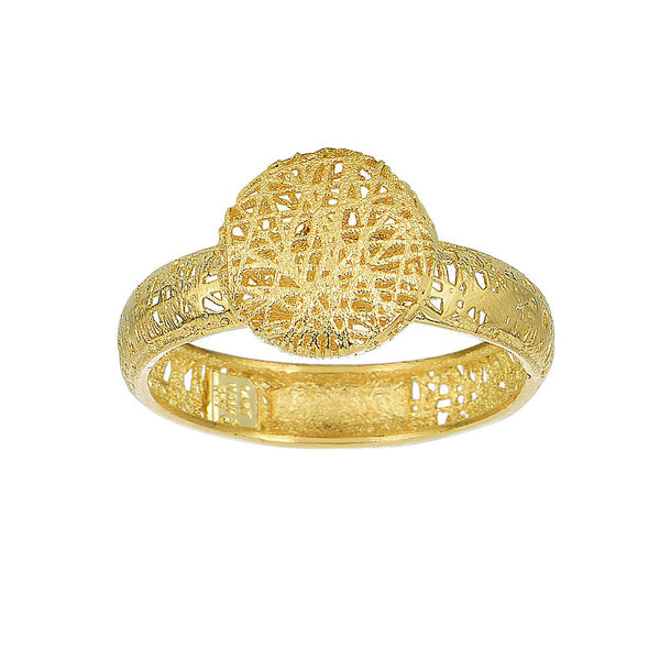14k Yellow Gold Mesh Textured Round Disc Ring, Size 7