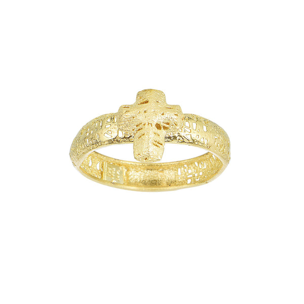 14k Yellow Gold Mesh Textured Cross Style Ring, Size 7