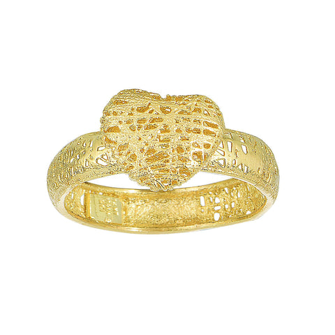 14k Yellow Gold Mesh Textured Heart Ring, Size 7