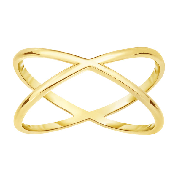 14K Yellow Gold Cross Over X Design Ring
