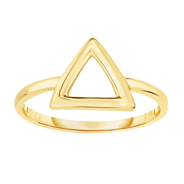 14K Yellow Gold Triangle Design Ring, Size 7