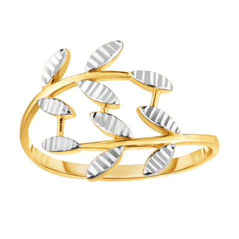 14K Two Tone Gold Diamond Cut Olive Leaf Branch Design Ring, Size 7