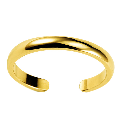 14K Yellow Gold Shiny Cuff Style Adjustable Toe Ring 3mm - JewelryAffairs  - 1