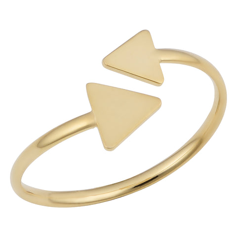 14k Yellow Gold Double Triangle Bypass Ring