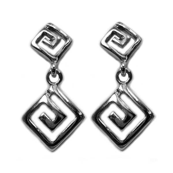 Sterling Silver Rhodium Plated Greek Meandros Key Dangle Earrings, 12 x 27mm