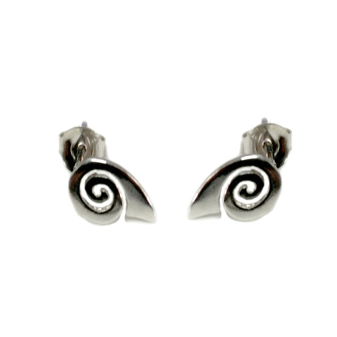Sterling Silver Rhodium Plated Greek Spira Stud Earrings, 10mm