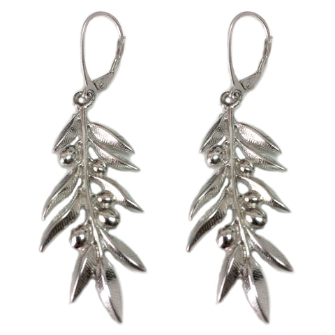 Sterling Silver Rhodium Plated Ancient Greek Olive Leaf Drop Earrings