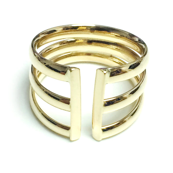 14k Yellow Gold Triple Open Band Ring