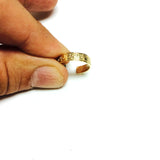 14K Yellow Gold Curved Inlay Greek Key Design Cuff Style Adjustable Toe Ring