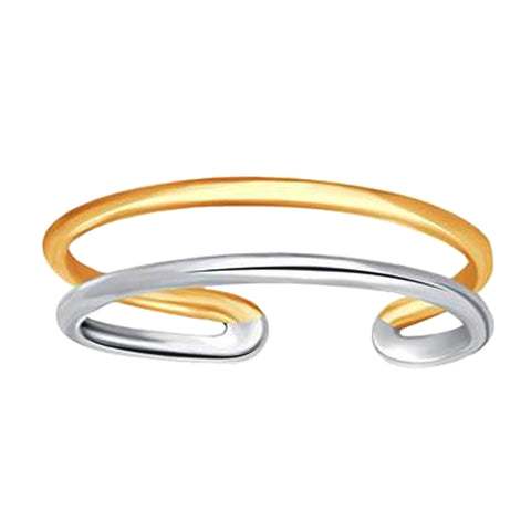 14K White And Yellow Gold Double Bar Cuff Style Adjustable Toe Ring