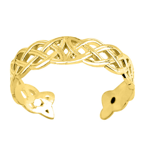 14K Yellow Gold Celtic Knot Weave Design Cuff Style Adjustable Toe Ring 4mm - JewelryAffairs  - 1