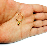 14K Yellow Gold Dangle Heart Cuff Style Adjustable Toe Ring