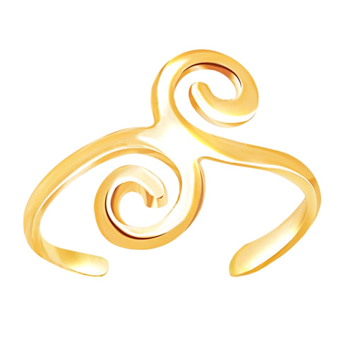 14K Yellow Gold Swirl Design Cuff Style Adjustable Toe Ring - JewelryAffairs  - 1