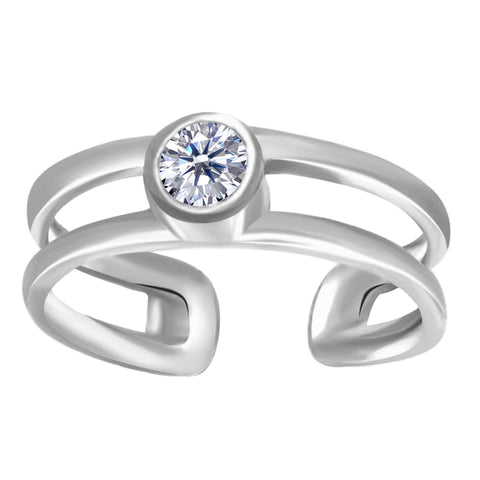 14K White Gold CZ Bezel Set Double Bar Cuff Style Adjustable Toe Ring