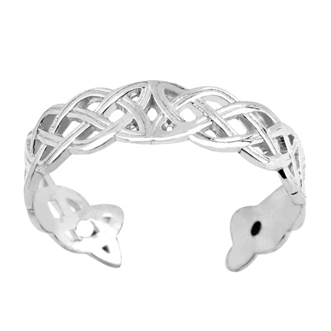 14K White Gold Celtic Knot Weave Design Cuff Style Adjustable Toe Ring