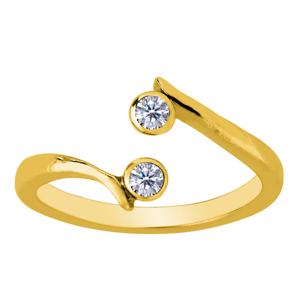 14K Yellow Gold Double Solitaire With CZ By Pass Style Adjustable Toe Ring - JewelryAffairs  - 1
