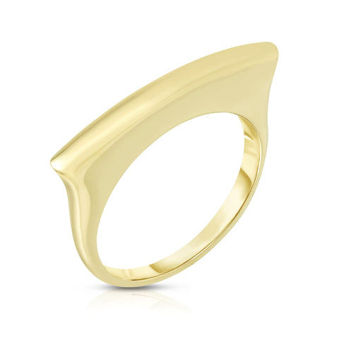 14k Yellow Gold Square Bar Ring, Size 7