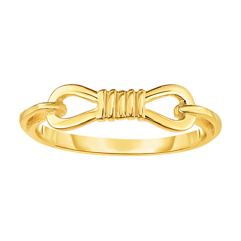 14K Yellow Gold Fancy Buckle Ring, Size 7