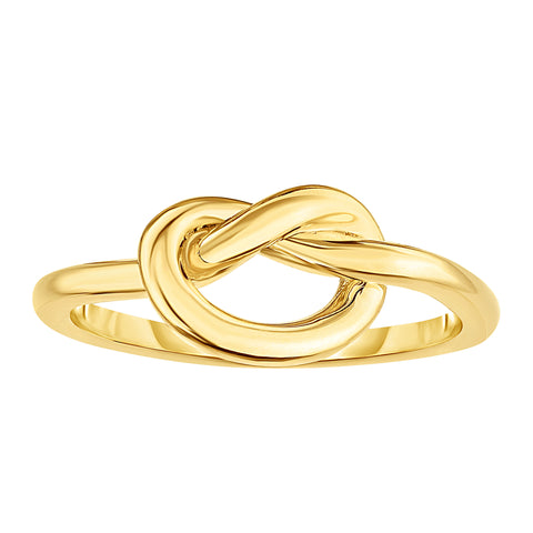 14K Yellow Gold Lovers Love Knot Pretzel Ring, Size 7