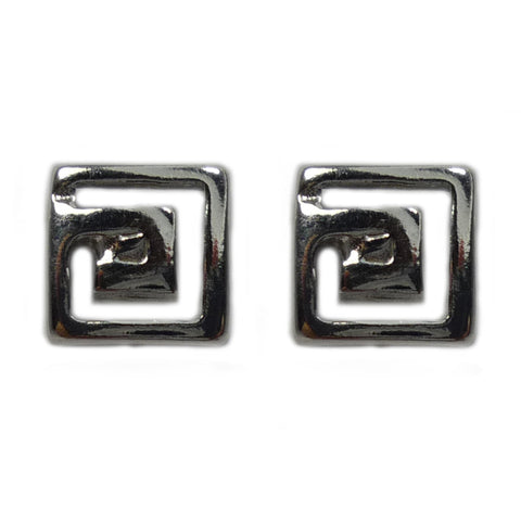 Sterling Silver Rhodium Plated Greek Meandros Key Stud Earrings, 5 x 5mm