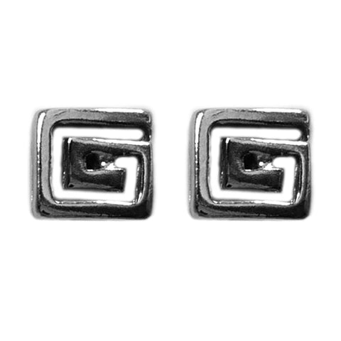 Sterling Silver Rhodium Plated Greek Meandros Key Stud Earrings, 7 x 7mm