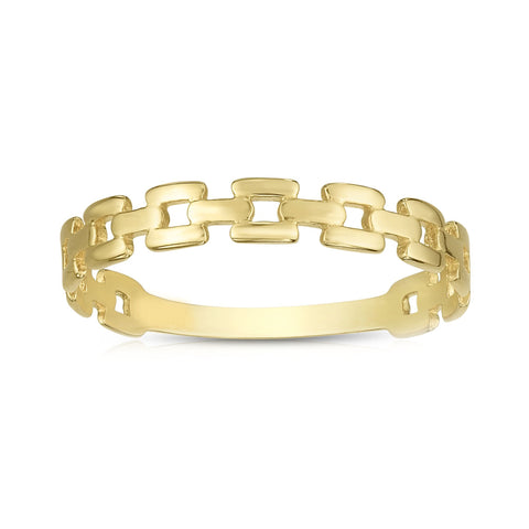 14k Yellow Gold Square Links Band Ring, Size 7