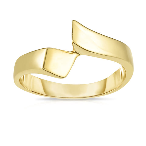 14k Yellow Gold Graduated Free Form Ring, Size 7