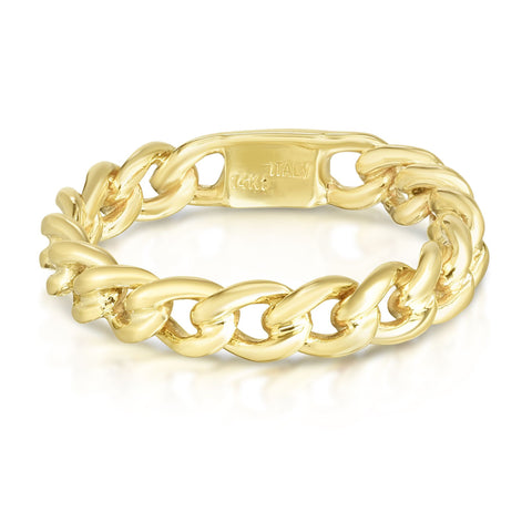 14k Yellow Gold Twisted Links Womens Ring, Size 7