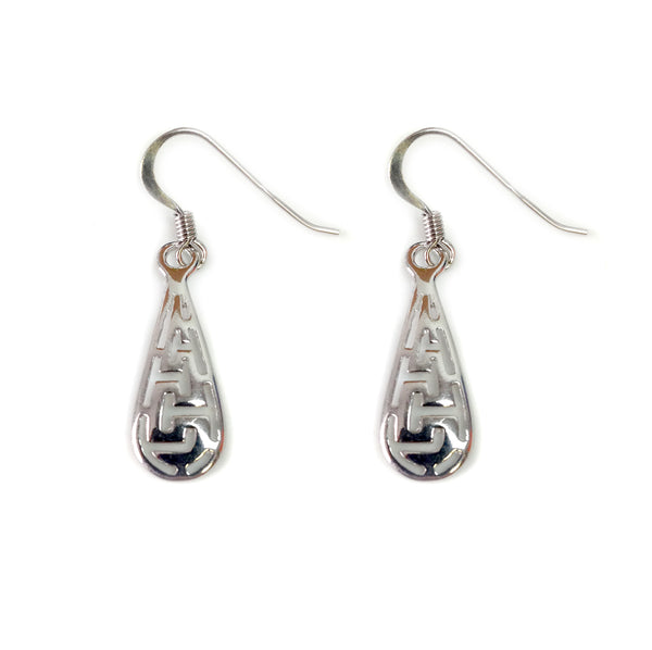 Sterling Silver Ancient Greek Key Drop Earrings