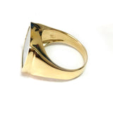 14k Yellow Gold Square Mother Of Pearl Ring, Size 7