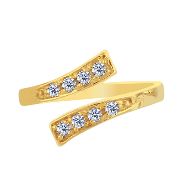 14K Yellow Gold Crossover With CZ Stones By Pass Style Adjustable Toe Ring