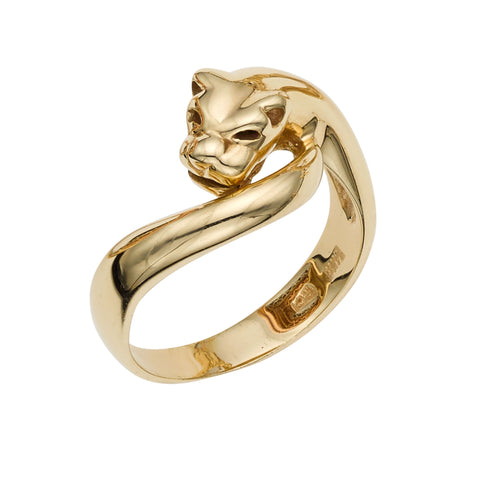 14k Yellow Gold Panther Signet Womens Ring, 7