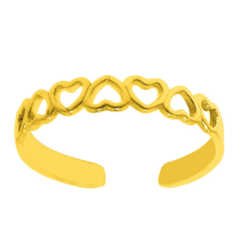 14K Yellow Gold Multiple Hearts Shiny Cuff Style Adjustable Toe Ring