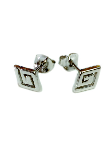 Sterling Silver Rhodium Plated Ancient Greek Key Stud Earrings
