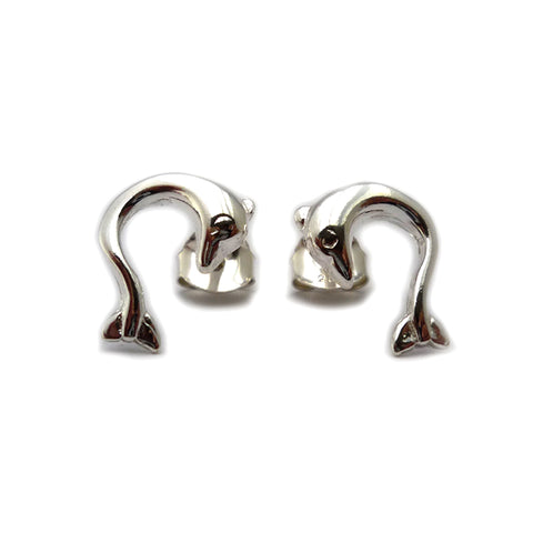 Sterling Silver Rhodium Plated Ancient Greek Minoan Dolphin Earrings - JewelryAffairs  - 1