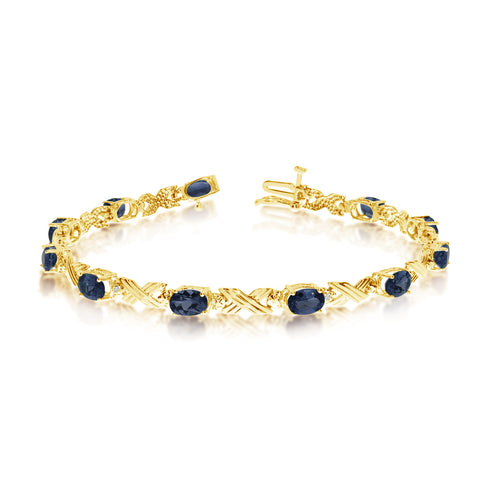 10K Yellow Gold Oval Sapphire Stones And Diamonds Tennis Bracelet, 7""