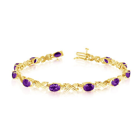 10K Yellow Gold Oval Amethyst Stones And Diamonds Tennis Bracelet, 7""