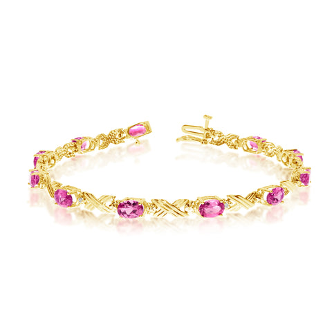 10K Yellow Gold Oval Pink Topaz Stones And Diamonds Tennis Bracelet, 7""