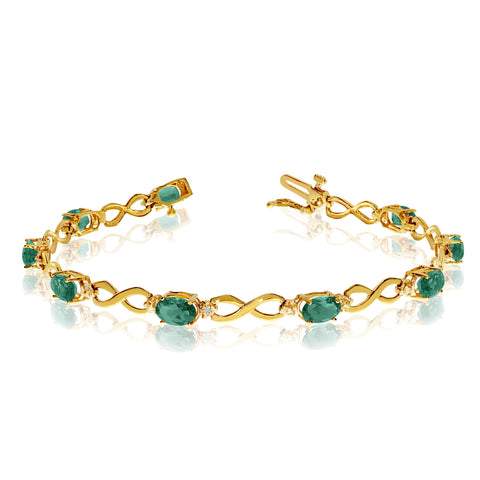 10K Yellow Gold Oval Emerald Stones And Diamonds Infinity Tennis Bracelet, 7""