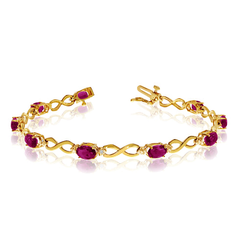 10K Yellow Gold Oval Ruby Stones And Diamonds Infinity Tennis Bracelet, 7""