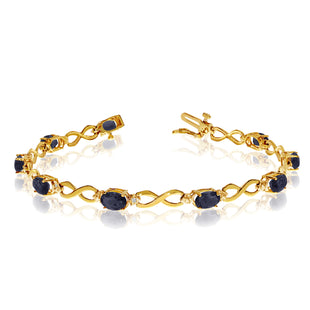 14K Yellow Gold Oval Sapphire Stones And Diamonds Infinity Tennis Bracelet, 7""